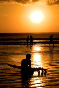 Beautiful sunset at Kuta Beach, Bali Island-Indonesia