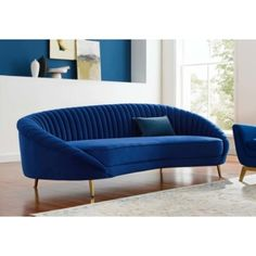 Blue Velvet Channel Tufted Back Curved Asymmetrical Sofa Velvet Furniture, Blue Furniture, Blue Velvet Loveseat, Low Back Sofa, Apartment Size Sofa, Chesterfield Style Sofa, Gold Sofa, Bedroom With Sitting Area, Beautiful Sofas