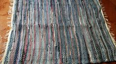 Blue and Purple handwoven Denim Rag rug, Floor runner, mat With white, blue and green string Check out this item in my Etsy shop https://www.etsy.com/listing/232349860/blue-and-purple-handwoven-denim-rag-rug