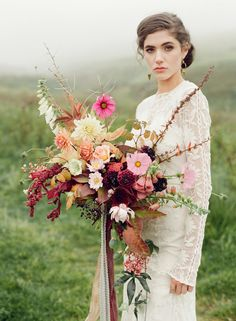 Autumn bridal bouquet, Taylor & Porter_High Waving Heather // Pinned by Dauphine Magazine, curated by Castlefield (wedding invitation, branding, pattern designs: www.castlefield.co). International Couture Fashion/Luxury Wedding Crossover Magazine - Issue 2 now on newsstands! www.dauphinemagazine.com. Instagram: @ dauphinemagazine / @ castlefieldco. Dauphine and Castlefield only claim credit for own images.