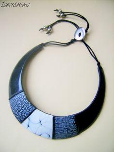 collier plastron noir et blanc en fimo