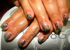Another Gelish manicure with ombre glitter and cheetah print