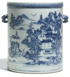 A large Chinese export blue and white cylindrical wine cooler Qing Dynasty, circa 1800