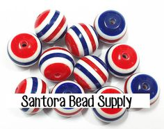 SALE  10pc. 20mm Striped Acrylic Beads  Red by SantoraBeadSupply, $2.25