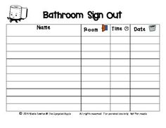 Bathroom Sign Up Sheet second grade sensation: bathroom sign out sheets | classroom