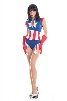 2dbe996cf0 Sexy Be Wicked Blue Red White Super Soldier Captain America Avengers  Superhero Comicbook Hero Halloween Party
