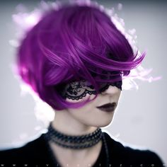 purple hair and black lace mask