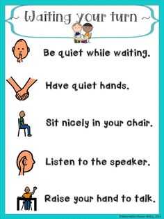 "Waiting Your Turn Poster 8.5"" x 11"" size.   For behavior during turn taking / waiting for turn  #speechtherapy #turntaking"