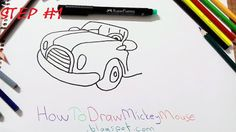 How to draw mickey mouse and his car?Mickey Mouse is very cute and famous Disney character. H ow painting a Mickey Mouse . Mickey Mouse Drawings, Car Drawings, Step By Step Drawing, Board, Cute, Blog, Painting, Drawings Of Cars, Kawaii