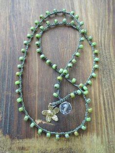 Rustico calce verde Crochet wrap bracciale collana di slashKnots