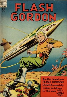Flash Gordon, comic book cover art pulp retro futurism back to the future tomorrow tomorrowland space planet age sci-fi airship steampunk dieselpunk alien aliens martian martians BEMs BEM's
