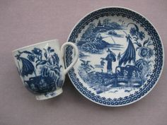 A Caughley cup and saucer printed with the Fisherman pattern. S Mark    Circa   1780
