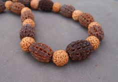 "Sheoak and quandong necklace from book ""Nature Crafts for Aussie Kids"" by Kate Hubmayer"