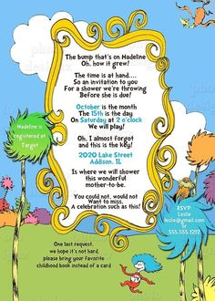 Dr. Seuss Baby Shower Invitations | Dr. Seuss, Blue, Baby Shower Invitation - PRINTABLE INVITATION DESIGN ...
