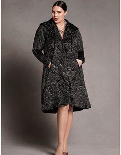 Plus size designer Faux fur swing coat by Isabel Toledo