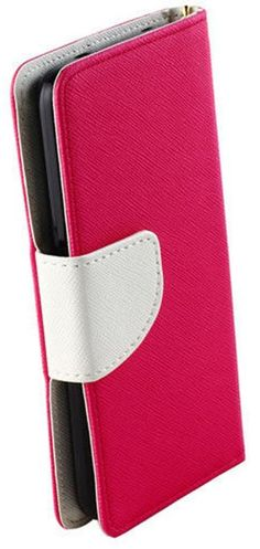 myLife Lipstick Pink + Elegant White {Simple Design} Faux Leather (Multipurpose - Card, Cash and ID Holder + Magnetic Closing) Folio Slimfol...