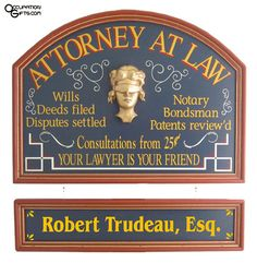 Attorney at Law Personalized Sign - Lawyer Gifts - Occupation Gifts, Attorney Gift, Find a Birthday or Christmas Gift Idea! Personalized Wood Signs, Custom Wood Signs, Office Signs, Office Wall Decor, Pub Signs, Wall Signs, Lawyer Gifts, Attorney At Law, Vintage Office