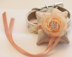 Ivory and Peach Ring Pillow for dogs, Cute Chic ring pillow attach to the dog Collar,  Dog Wedding Accessory