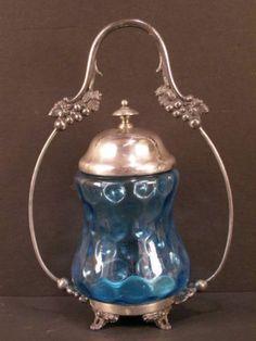 ~1800's Victorian Silver Castor Cruet Bottle Pickle Holder Jar Coin Spot Glass~