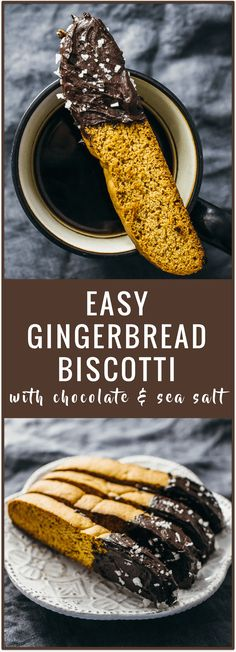 Gingerbread biscotti with chocolate and sea salt - This is an easy recipe for gingerbread biscotti that doesn't use any butter. The biscotti is then partially coated in melted dark chocolate and sprinkled with sea salt.