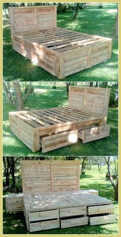 Staggering Incredible Shipping Pallet Projects Dearlinks IDeas is part of Wood pallet furniture - Sometime you have a lot of wooden pallets and you don't know anything good to make So, here we are gong to show you staggering pallet wood reclaimed ideas Wooden Pallet Beds, Diy Pallet Bed, Pallet Ideas Easy, Wooden Pallet Projects, Pallet Wood, Diy Projects With Pallets, Diy With Pallets, Pallet Headboards, Pallet Benches