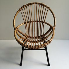 1950s Vintage Rattan Wicker Kid's Chair Metal Feet - Fauteuil Rotin Enfant…