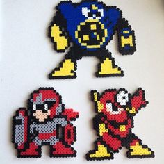 MM2 Robotmasters and Protoman perler beads by jyphlosion