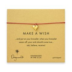 make a wish bracelet with gold dipped full heart on red