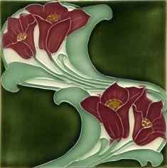 Art nouveau tile and arts and crafts tile reproductions made by Porteous Tiles. Beautiful decorative ceramic tiles ideal for splashback, bathroom, kitchen, and fireplace. Motifs Art Nouveau, Azulejos Art Nouveau, Art Nouveau Flowers, Art Nouveau Pattern, Antique Tiles, Antique Art, Vintage Art, Art Nouveau Tiles, Art Nouveau Design