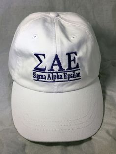 Sigma Alpha Epsilon SAE Fraternity Hat- White - Brothers and Sisters' Greek Store Sae Fraternity, White Brothers, Sigma Alpha Epsilon, Greek Store, Sisters, Baseball Hats, Baseball Caps, Baseball Hat, Daughters