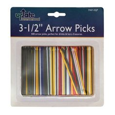 "Update International PAP-35JP 3.5 in. Plastic Arrow Toothpicks - Case of 500 by Update International. $9.50. Base Material: Plastic.. Design is stylish and innovative. Satisfaction Ensured.. Individually Wrapped: No.. Length: 3.5.. Great Gift Idea.. The 3-1/2"" Plastic Arrow Toothpicks (Case of 500) from Update International are perfectly suited for use as condiment skewers in the bar. While the kind of toothpick a bar uses to skewer their condiments may not be overtly noti..."