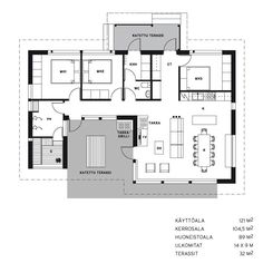 LINJAKAS TALO S362 Architectural House Plans, Modern House Plans, House Layouts, Own Home, My Dream, Beautiful Homes, Floor Plans, Cottage, Houses