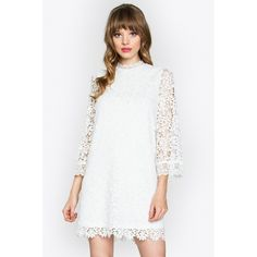 8ea6ac6247e3 Did it hurt when you fell from heaven  Because you re an angel. Pair with  statement earrings for a mod look. - Crochet lace bell sleeve dress - High  neck ...