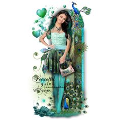 Peacock Girl! by tracireuer on Polyvore featuring polyvore and art