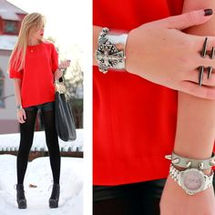 TOTAL BLACK WITH A RED HEART (by Darya Kamalova) http://lookbook.nu/look/2938633-TOTAL-BLACK-WITH-A-RED-HEART
