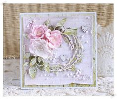 card flower flowers leaf leaves wreath vintage shabby chic Scrap Art by Lady E: With Hearts / Z Seduszkami Shabby Chic Karten, Shabby Chic Cards, Pretty Cards, Cute Cards, Birthday Cards For Women, Mothers Day Cards, Heartfelt Creations, Flower Cards, Greeting Cards Handmade