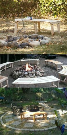 Comfy cedar benches wrap around the campfire. Perfect for gatherings.