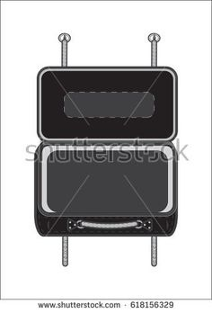 Suitcase open black classic isolated on white background modern art creative vector