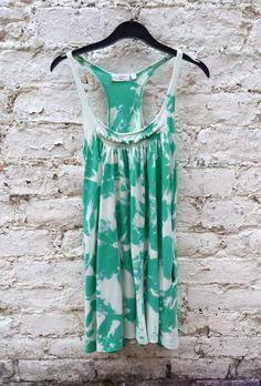 Green Tie Dye Ladies Vest Top  size 10 Hippie Boho by AbiDashery