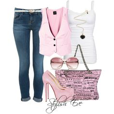 Noha- white tank top, pink best, blue jeans, pink heels