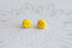 Chicken polymer clay earrings by FiolettaKK2 on Etsy, $5.00