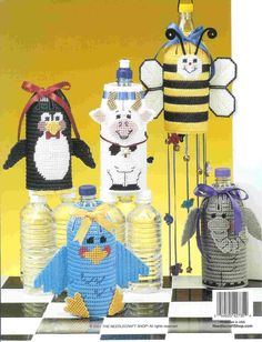 Bottle Buddies Pg 18/18 Plastic Canvas Coasters, Plastic Canvas Patterns, Tissue Box Covers, Tissue Boxes, Bottle Buddy, Water Bottle Covers, Thing 1, Canvas Board, Bees Knees