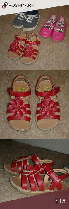 3 pairs of toddler shoes! Size 7!! Red sandals - Rachel Shoes brand Blue sparkly tennis shoes - faded glory brand  Pink flats - Circo brand  All in used condition, cute, all toddler size 7! Shoes