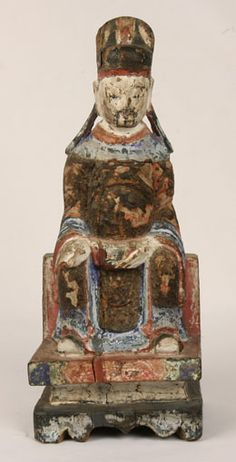 CHINESE WOODEN TEMPLE FIGURES | ... CHINESE MING DYNASTY 16TH C OLD CARVED PAINTED WOOD WOODEN TEMPLE