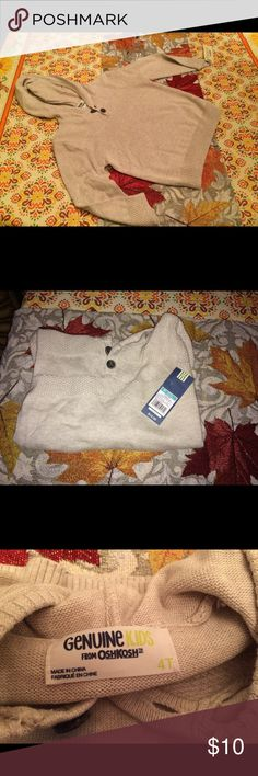 NWTS Target Osh Kosh Sweater/Hoodie Boys Cream 4T Brand new with tags Target Genuine Osh Kosh Cream Sweater/Hoodie Boys 4T. Never worn bought last year but my son never wore it. I have tons of boys clothing from sizes 4-6. I will be listing more of his clothes soon. Some are brand new or gently used. I never dry his clothes in the dryer all are hung dry. From a smoke-free home.  Thank you for looking 🦋🌹😊 Osh Kosh Shirts & Tops Sweaters