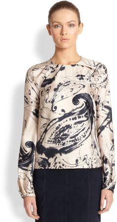 Carolina Herrera Silk Twill Paisley Print Blouse in Pink (BLUE PINK) - Lyst