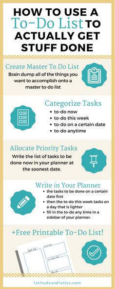 Learn How To make a to do list and actually use it to get stuff done! Use this free printable to plan out your task list for the week and be more productive!