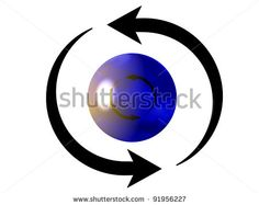 Representation of two black cyclic arrows perpetually turning on themselves around a blue sphere, and referring to concepts such as synchronization, processes, as well as exchange as well as renewal / ID 91956227 / Copyright JNT Visual