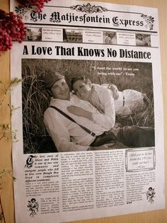 Wedding Away From Home - Vintage Newspaper Wedding Program: In love with this design!! Beautiful!! @NewsFavor.com #Wedding #Newspaper