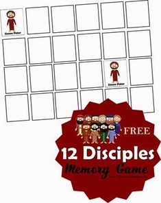 wk 27 table game 12 Disciples Memory Game - This is such a fun way for kids to learn the names of all the apostles. This free printable game is great for kindergarten, grade, grade, and grade kids. Perfect for at home or in Sunday School. School Games For Kids, Sunday School Games, Free Activities For Kids, Bible Activities, Sunday School Lessons, Sunday School Crafts, School Kids, Middle School, Bible Crafts For Kids